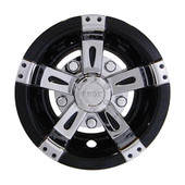 "10"" RHOX Chrome and Black Vegas Style Golf Cart Wheel Cover"