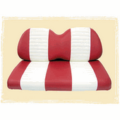 Red and White Premium Vinyl Front Seat Covers