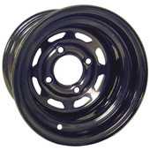 "10""x7'' Rhox Black 8 Window Steel Golf Cart Wheel"
