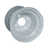 "8""x7"" Steel White Golf Cart Wheel with Offset"
