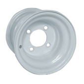 "Standard 8""x7"" Steel White Golf Cart Wheel"