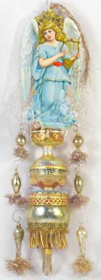Reserved for John - Fabulous Blue Angel on Triple Sphere Topper