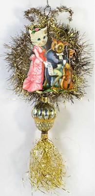 The Owl and The Pussy Cat in Concert on Tinsel Ornament, with Antique Acorn Bead