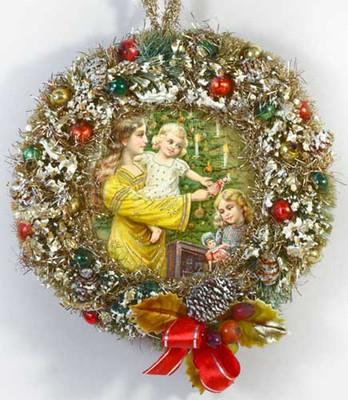 Angel Inside Decorated Bottlebrush Wreath