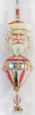 RARE Santa on Antique Glass Cone Ornament with Original Pike