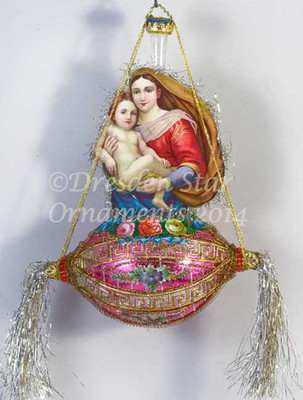 Mary and Jesus on Graceful Oval Magenta Indent With Flowers