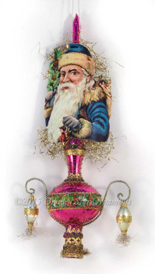 Blue Santa on Striking Purple Glass Spire Topper with Beads