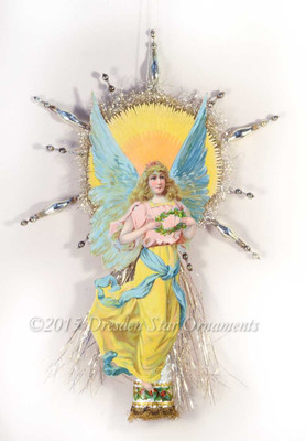 Enchanting Tall Art Nouveau Angel Topper with Silver Beads