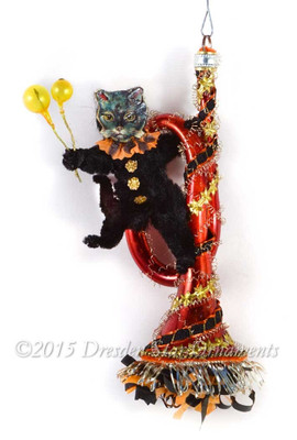 Halloween Cat with Balloons swinging from Orange Glass Horn