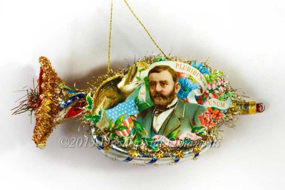 President Grant On Silver Victorian Patriotic Glass Horn Ornament