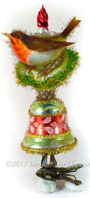 Red Robin on Mid-Century Glass Bell with Candle-Clip