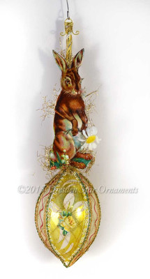 Brown Bunny with Daisy on Yellow Glass Egg Easter Ornament
