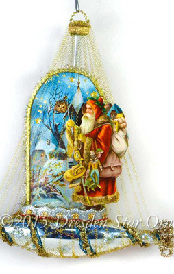 Victorian Santa on Christmas Eve in Silver Ship Ornament