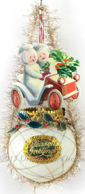 Reserved for Yuliya - Victorian Snowmen in Motorcar on Frosted Glass Sphere Ornament