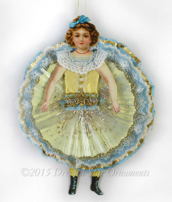 Reserved for Dennis- Girl in Yellow Doily Circle-Skirt with Blue Accents