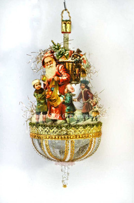 Reserved for Dennis – Santa with Children on  Glorious Antique Parasol