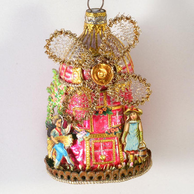 Reserved for Susan- Dainty, Elaborate Glass Windmill with Dutch Children