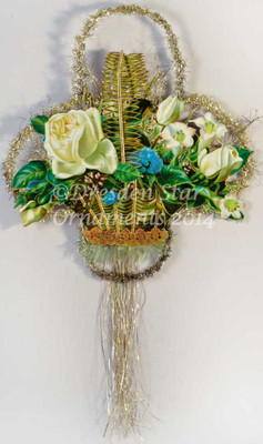 Reserved for Susan - Large Scrap and Tinsel Floral Basket Decorated with Dresden Paper
