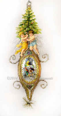 Reserved for Yuliya – Twin Christmas Angels on Antique Lute Ornament