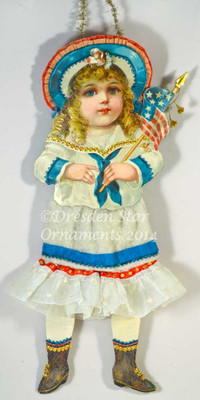 Sailor Girl Paper Doll with Cotton Batting & Fabric Skirt