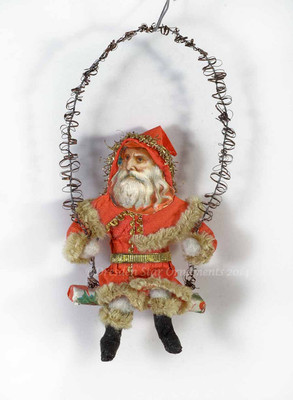 Life-Like Swinging Cotton Santa in Chenille-Lined Hooded Cloak