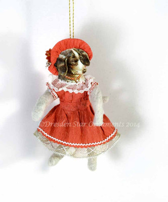 Dancing Cotton Dog in Soft Red Paper Dress and Bonnet
