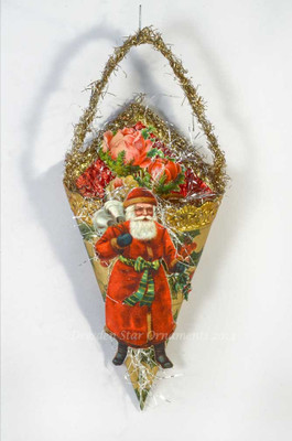 Santa Ringing Bells on Cornucopia Candy Container with Antique Holly Paper and Roses