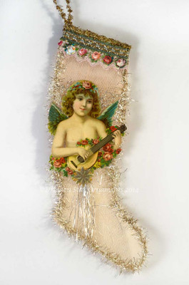Angel Playing Lute and Roses on Large Pink Mesh Stocking Candy Container