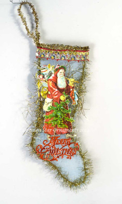 Red Santa Loaded with Treats on Mesh Stocking Candy Container with Embroidered Trim