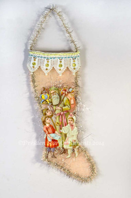 Large Santa with Children on Pastel Mesh Stocking with Amazing Antique Lacework