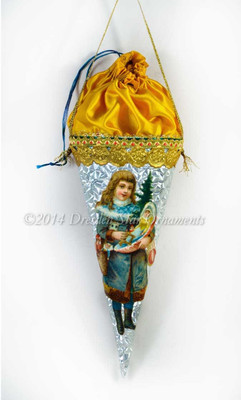 Silver Candy Container with Yellow-Gold Silk Pouch and Girl in Blue with Christmas Presents