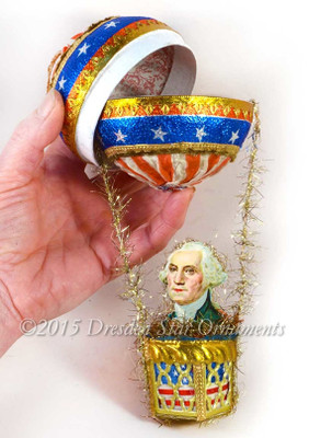 Deluxe George Washington All Paper And Fabric Hot Air Balloon Candy Container