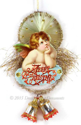 Large Rafael Tuck Cherub on Tinsel Ornament with Silver Bells and Spun-Glass