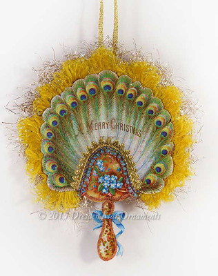 Beautiful Two-Sided Aesthetic Peacock Feather Fan with Gold Silk Fringe
