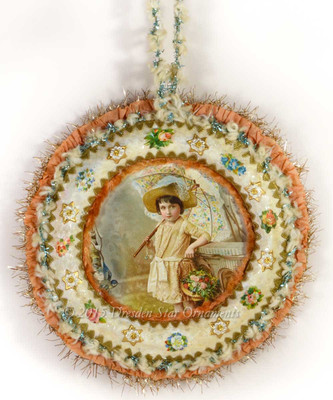 Victorian Girl in Ivory Wreath with Aqua and Chenille Garland