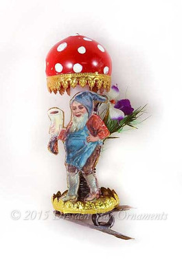 Reserved for Brenda – Glass Amanita Mushroom with Adorable Gnome  Clip-On Ornament