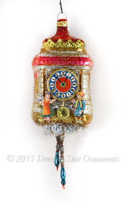 Reserved for Brenda – Detailed Glass Clock Ornament with Boy and Girl Figures