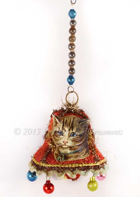 Tabby Cat on Early Chip-Tinsel Paper Bell and Miniature Glass Spheres