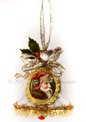 Santa on Frosted Paper Bell with Cotton Bird and Holly
