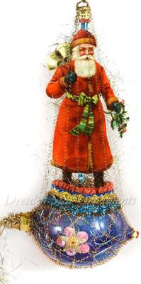 Santa Ringing Bells on Blue and Red Glass Rocket
