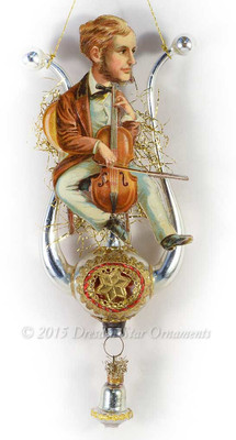 Reserved for Melissa – Victorian Man Playing Cello on Vintage Lyre Ornament
