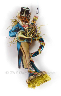 Reserved for Melissa – Dapper Tuba-Playing Fox with Vintage Glass Blue Horn Ornament