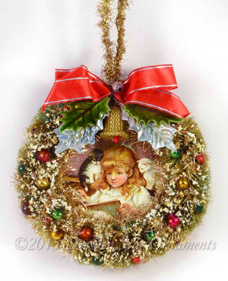 Mid Century Chip-Tinsel Wreath with Girl and Two Cats