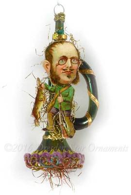 Reserved for Brenda – Irish Hunter Holding Rabbit on Green Horn Ornament