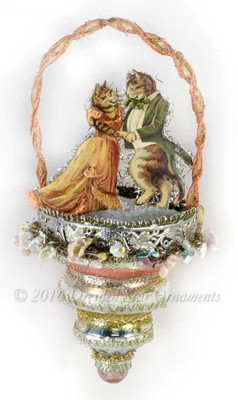 Reserved for Diana – Dancing Tabby Cats on 3-Tierred Glass Basket Ornament