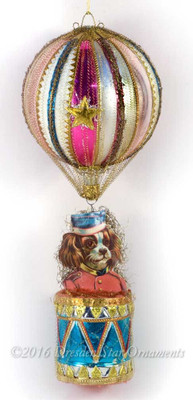 Reserved for Diana – Uniformed Cavalier King Charles Spaniel Riding on Magenta and Peach Striped Hot Air Balloon