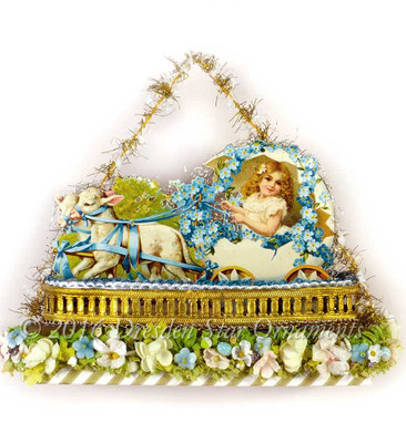 Reserved for Yuliya – Lambs pulling Victorian Girl in Egg Carriage in Easter Candy Container