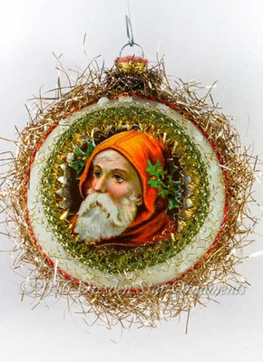 Santa with Red-Orange Hood in White and Silver Indent Ornament
