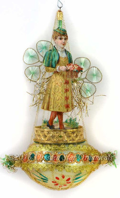 St. Patrick's Day Lass with Wired Silk Shamrocks On Fancy Glass Oval Ornament