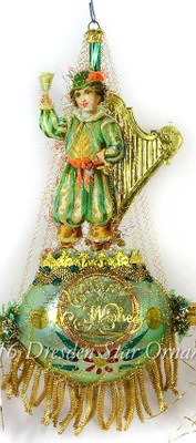 Celebrating Irishman with Harp on Green Ornament with Gold Bullion Fringe